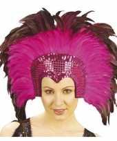 Luxe hoofdtooi fuchsia roze met veren voor volwassenen