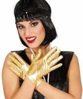 Metallic gouden verkleed handschoenen kort 22 cm
