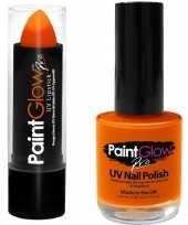 Neon oranje uv lippenstift lipstick en nagellak schmink set