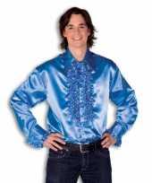 Overhemd blauw met rouches heren