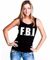 Politie fbi tekst singlet-shirt tanktop zwart dames