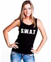 Politie s w a t tekst singlet-shirt tanktop zwart dames