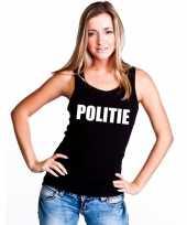 Politie tekst singlet-shirt tanktop zwart dames