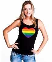 Regenboog vlag in hart singlet-shirt tanktop zwart dames