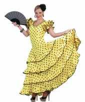 Spaanse flamencojurk geel met zwarte stippen