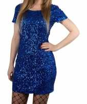 Toppers blauwe glitter pailletten disco jurkje one size voor dames