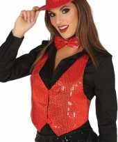 Toppers rode verkleed gilet met pailletten voor dames