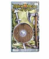 Viking zwaard met bruin schild en bijl set