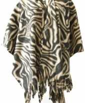 Winter poncho omslagdoek zebraprint