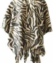 Winter poncho omslagdoek zebraprint