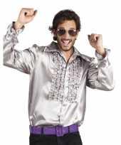 Zilveren disco overhemden met rouches