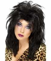 Zwarte 80s rockster pruik dames